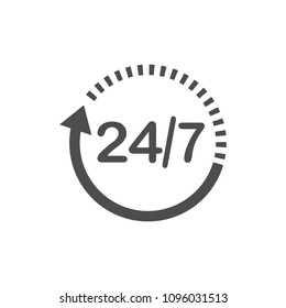 24 hours 7 days icon. Time clock icon vector illustration. Flat design.