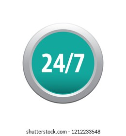 24 hours 7 days vector button, web design element