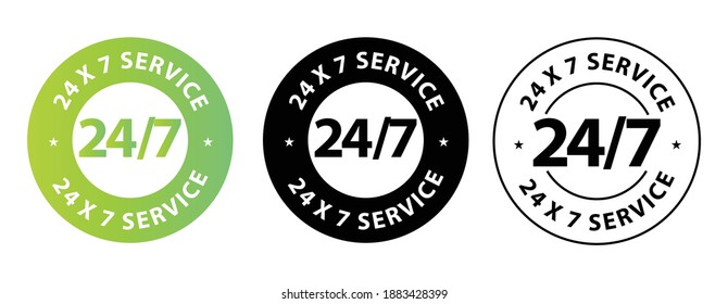 24 hours 7days service icon vector stamp