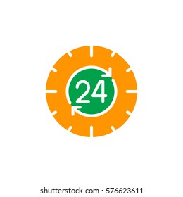 24 hours , around the clock icon vector, filled flat sign, solid colorful pictogram isolated on white. Symbol, logo illustration