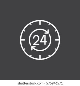 24 hours , around the clock line icon, outline vector sign, linear white pictogram isolated on gray. Symbol, logo illustration