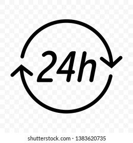 24 hours clock arrow vector icon. Round clock customer support, delivery or supermarket and store open symbol