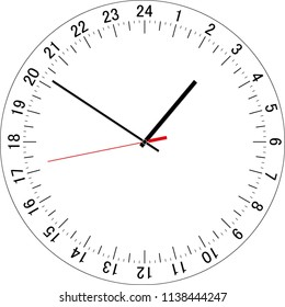 24 hours clock dial. Full day clock. Vector Illustration