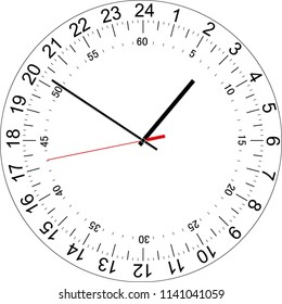 24 hours clock dial with the seconds dial. Full day clock. Vector Illustration