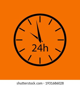 24 Hours Clock Icon. Black on Orange Background. Vector Illustration.