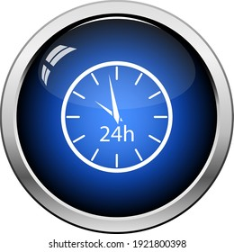 24 Hours Clock Icon. Glossy Button Design. Vector Illustration.
