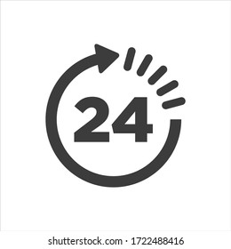 24 hours clock icon on white background