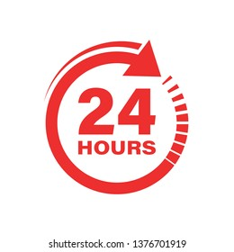 24 hours clock sign icon in flat style. Twenty four hour open vector illustration on white isolated background. Timetable business concept.