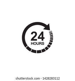 24 hours clock sign icon in flat style. Twenty four hour open vector illustration on white isolated background. Timetable business concept