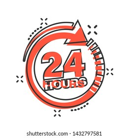 24 hours clock sign icon in comic style. Twenty four hour open vector cartoon illustration on white isolated background. Timetable business concept splash effect.