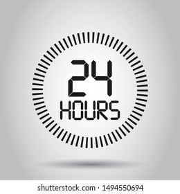24 hours clock sign icon in flat style. Twenty four hour open vector illustration on isolated background. Timetable business concept.