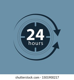 24 hours clock sign icon in flat style. Twenty four hour open vector illustration