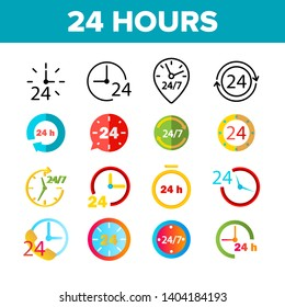 24 Hours, Clock, Time Vector Color Icons Set. 24 Hours Customer Service, Online Support Linear Symbols Pack. Convenience Store Logo. All Day Open Shop, Call Center Isolated Flat Illustrations