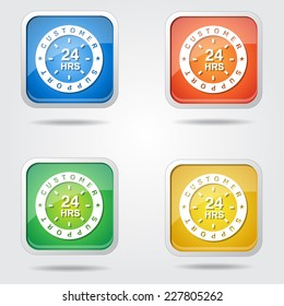 24 Hours Customer Support Colorful Vector Icon