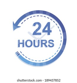 24 hours a day blue concept icon isolated on white background art