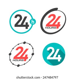 24 hours a day icons. Vector.