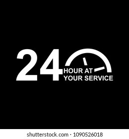 24 hours a day vector icon