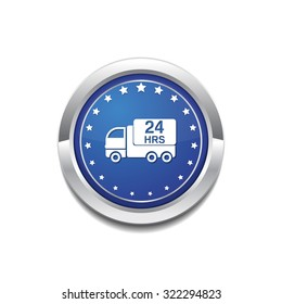 24 Hours Delivery Blue Vector Icon Button