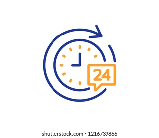 24 hours delivery line icon. Time or stopwatch sign. Colorful outline concept. Blue and orange thin line color icon. 24h delivery Vector