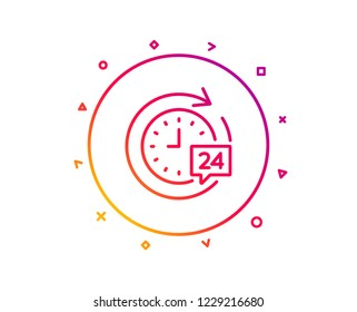 24 hours delivery line icon. Time or stopwatch sign. Gradient pattern line button. 24h delivery icon design. Geometric shapes. Vector