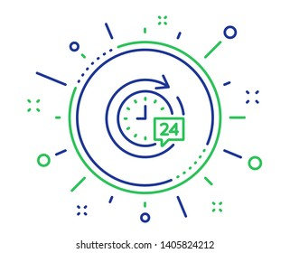 24 hours delivery line icon. Time or stopwatch sign. Quality design elements. Technology 24h delivery button. Editable stroke. Vector