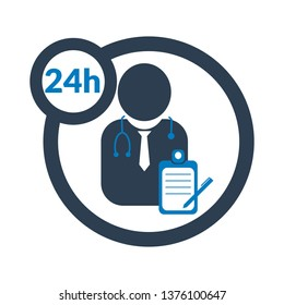 24 hours doctor service icon,24/7 doctor service.