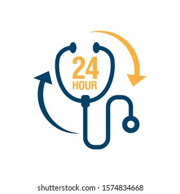 24 hours doctor service logo iconvector.  sign of 24/7 day and night healthcare medical services button symbol.