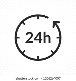 24 hours icon. Clock icon with arrow in linear style. Twenty-four hour symbol, Call service icon