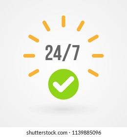 """""""24 hours"""" icon. Concept of 24/7, open 24 hours, customer service, emergency, open around the clock, call center, open everyday.  Vector illustration, flat design"""
