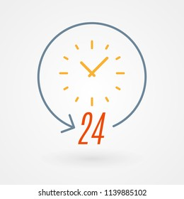 """24 hours"" icon. Concept of 24/7, open 24 hours, customer service, emergency, open around the clock, call center, open everyday.  Vector illustration, flat design"