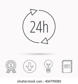 24 hours icon. Customer service sign. Client support symbol. Download arrow, lamp, learn book and award medal icons.