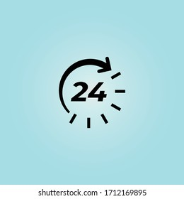 24 hours icon design vector . 24 hours open icon