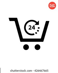 24 hours Icon Flat Style Isolated Vector Illustration