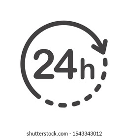 24 hours icon. Flat vector illustration in black on white background.