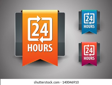 24 hours icon isolated on grey