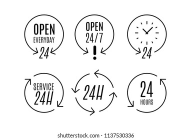 """24 hours"" icon set. Concept of 24/7, open 24 hours, customer service, open around the clock, call center, open everyday.  Vector illustration, flat design"