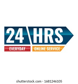 The 24 hours icon. Twenty-four hours open symbol. design image vector illustration