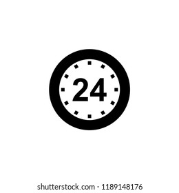 24 hours icon. 24 hours vector illustration on white background for web and apps.