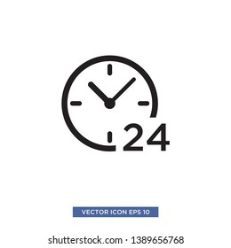 24 hours icon vector illustration template