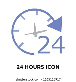 24 hours icon vector isolated on white background, 24 hours transparent sign , delivery symbols