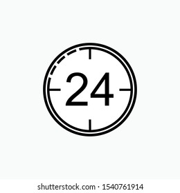 24 Hours Icon - Vector, Sign and Symbol for Design, Presentation, Website or Apps Elements.