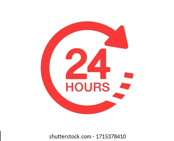 24 hours icon. 24 hours  vector sign.