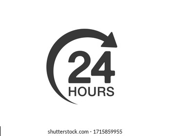 24 hours icon. 24 hours vector sign. 24 hours delivery icon.