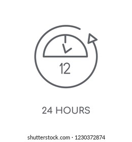 24 hours linear icon. Modern outline 24 hours logo concept on white background from Human Resources collection. Suitable for use on web apps, mobile apps and print media.