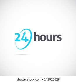 24 hours logo, icon or signboard for your business
