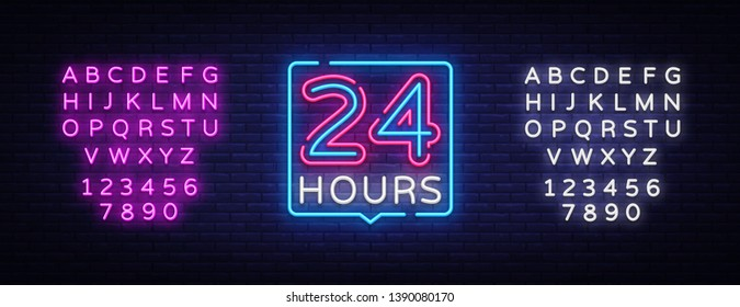 24 hours neon sign vector design template. 24 hours Open neon, light banner design element colorful modern design trend, night bright advertising, bright sign. Vector. Editing text neon sign