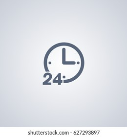 24 hours online vector icon