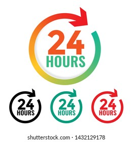 24 hours open icon in many colors