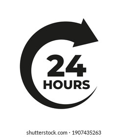 24 hours order execution or delivery service icon template