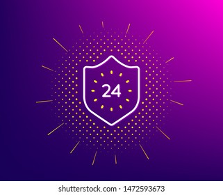 24 hours protection line icon. Halftone pattern. Shield sign. Gradient background. 24 hours line icon. Yellow halftone pattern. Vector